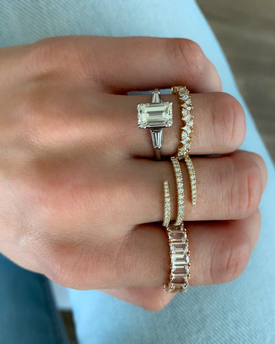 Emerald Cut White Topaz Stacker