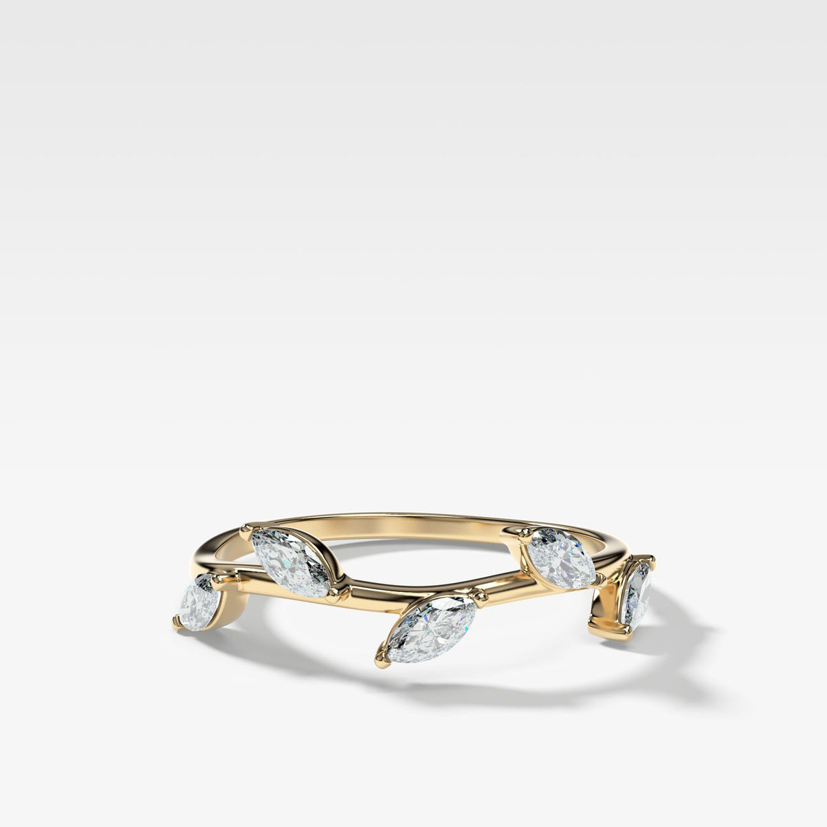 Laurel Marquise Wedding Band available in Gold and Platinum by Good Stone