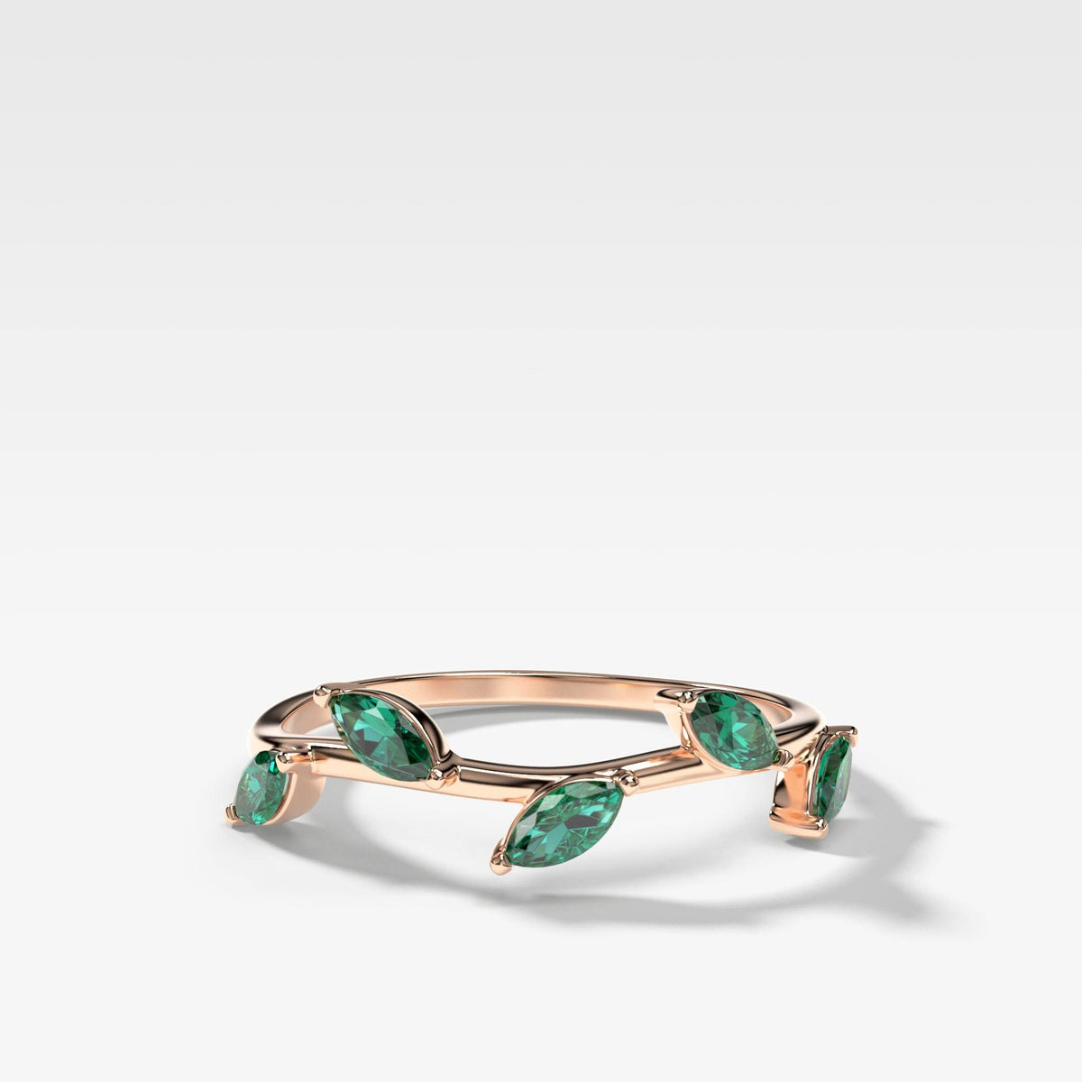 Laurel Marquise Band With Green Emeralds In Rose Gold By Good Stone