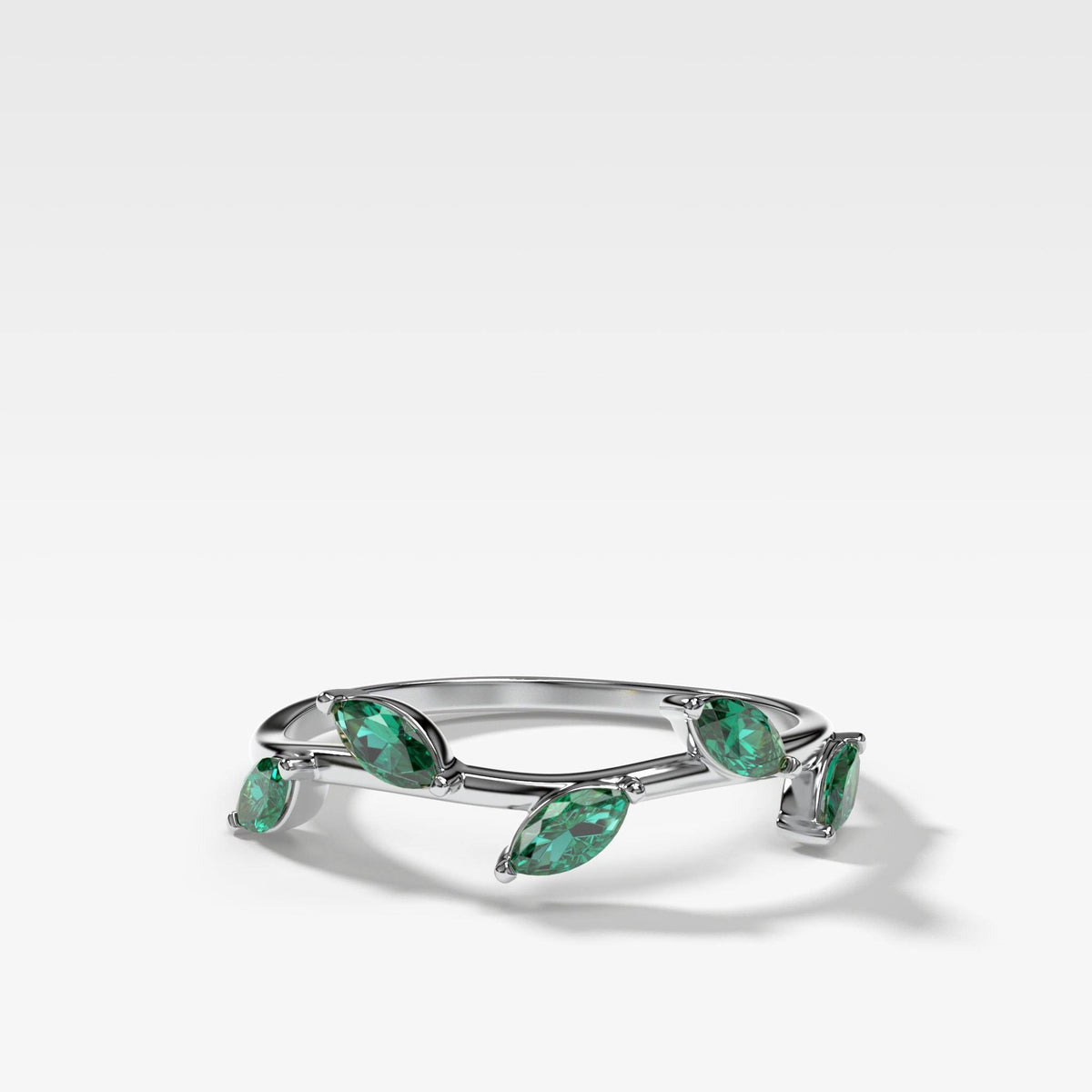 Laurel Marquise Band With Green Emeralds In White Gold By Good Stone