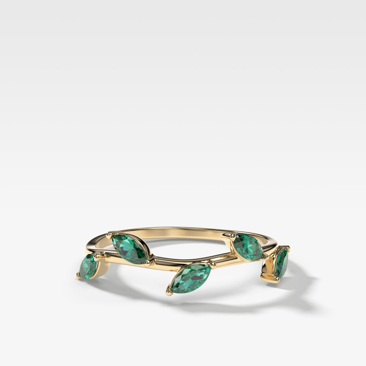 Laurel Marquise Band With Green Emeralds In Yellow Gold By Good Stone