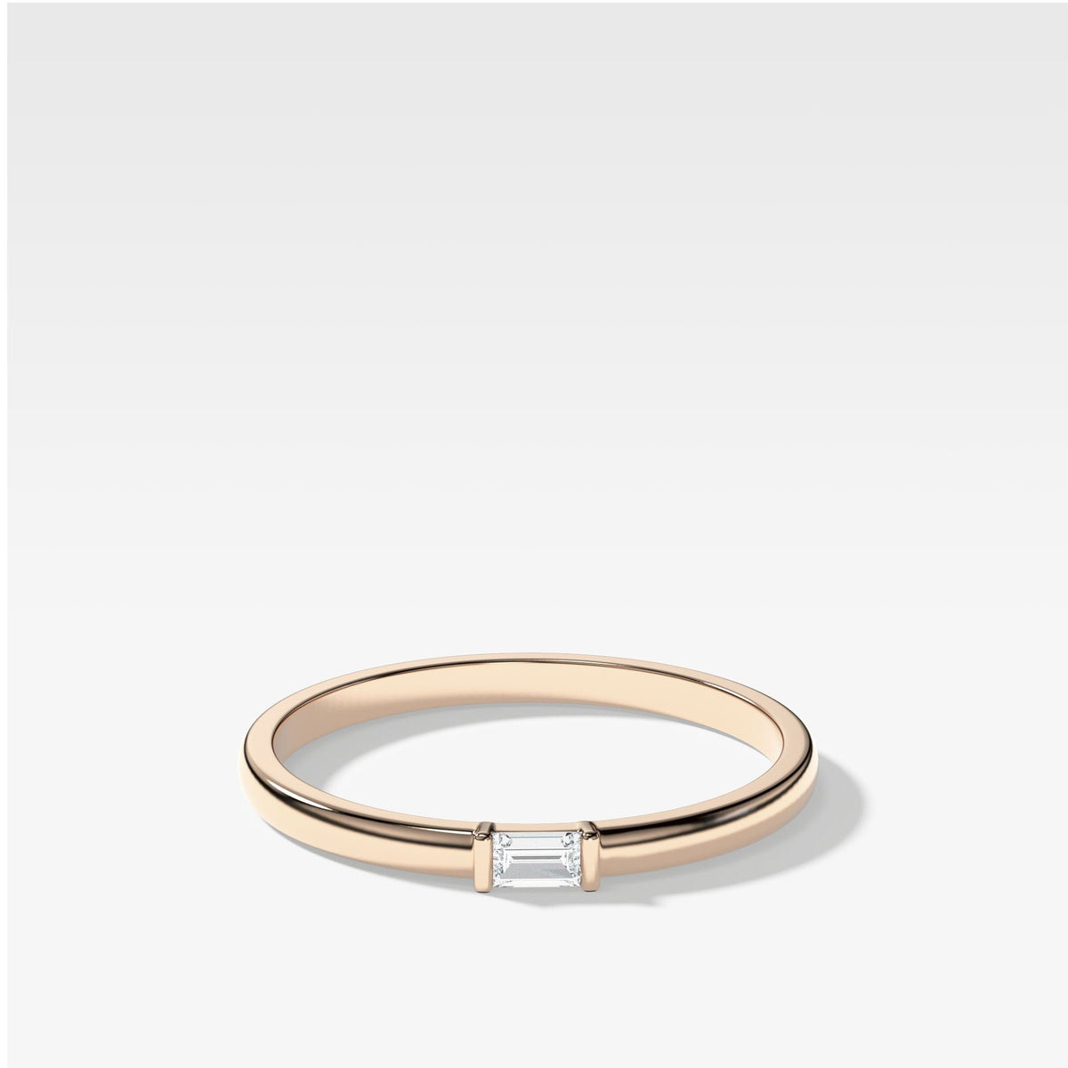 Lone Baguette Stacker In Rose Gold By Good Stone