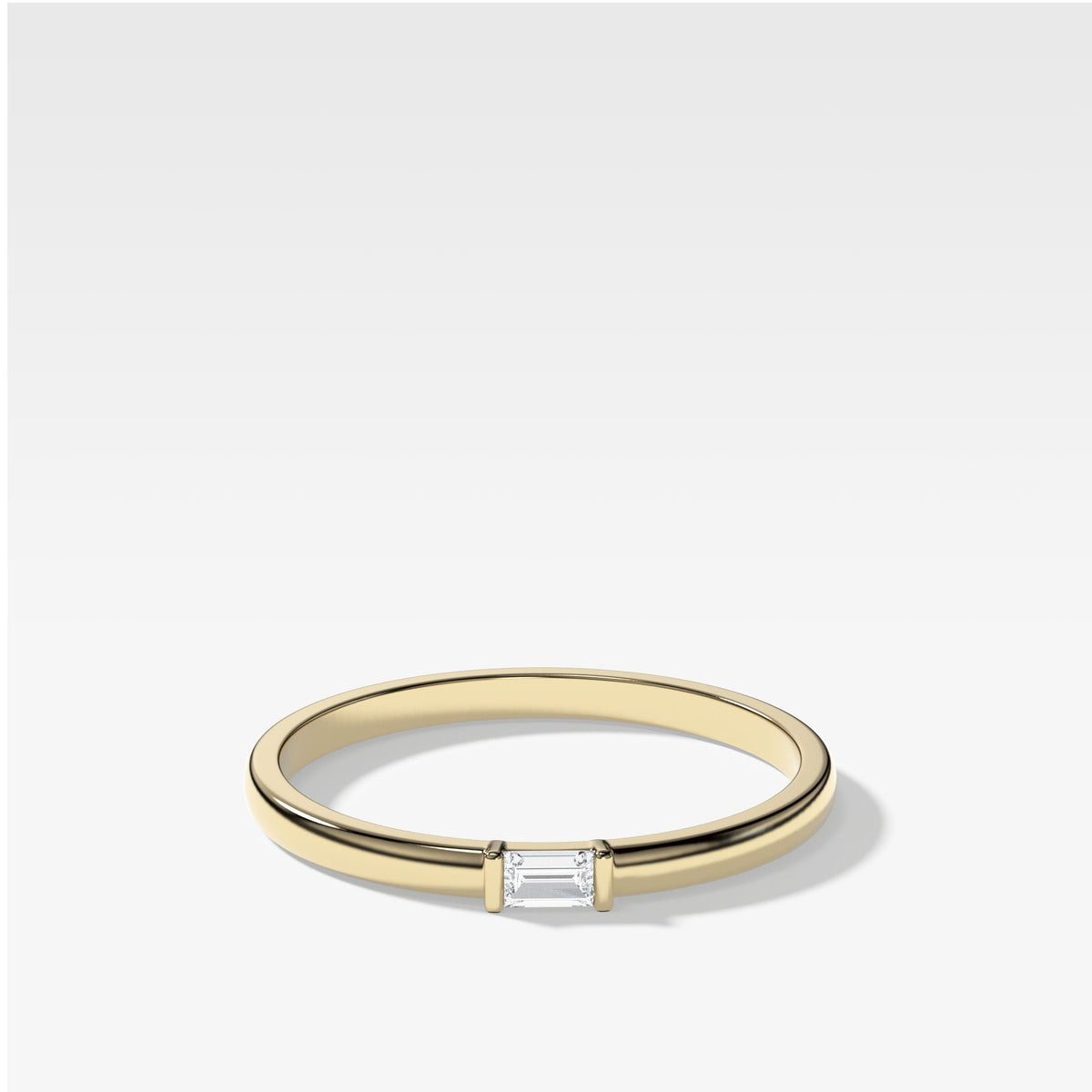 Lone Baguette Stacker In Yellow Gold By Good Stone
