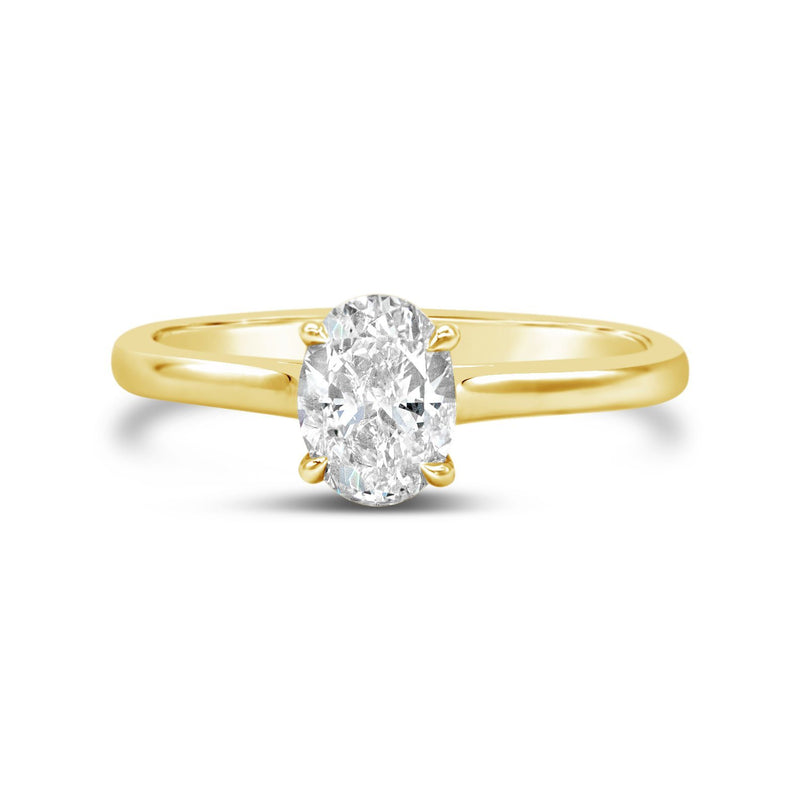 Dainty Cathedral Oval Diamond Solitaire Engagement Ring