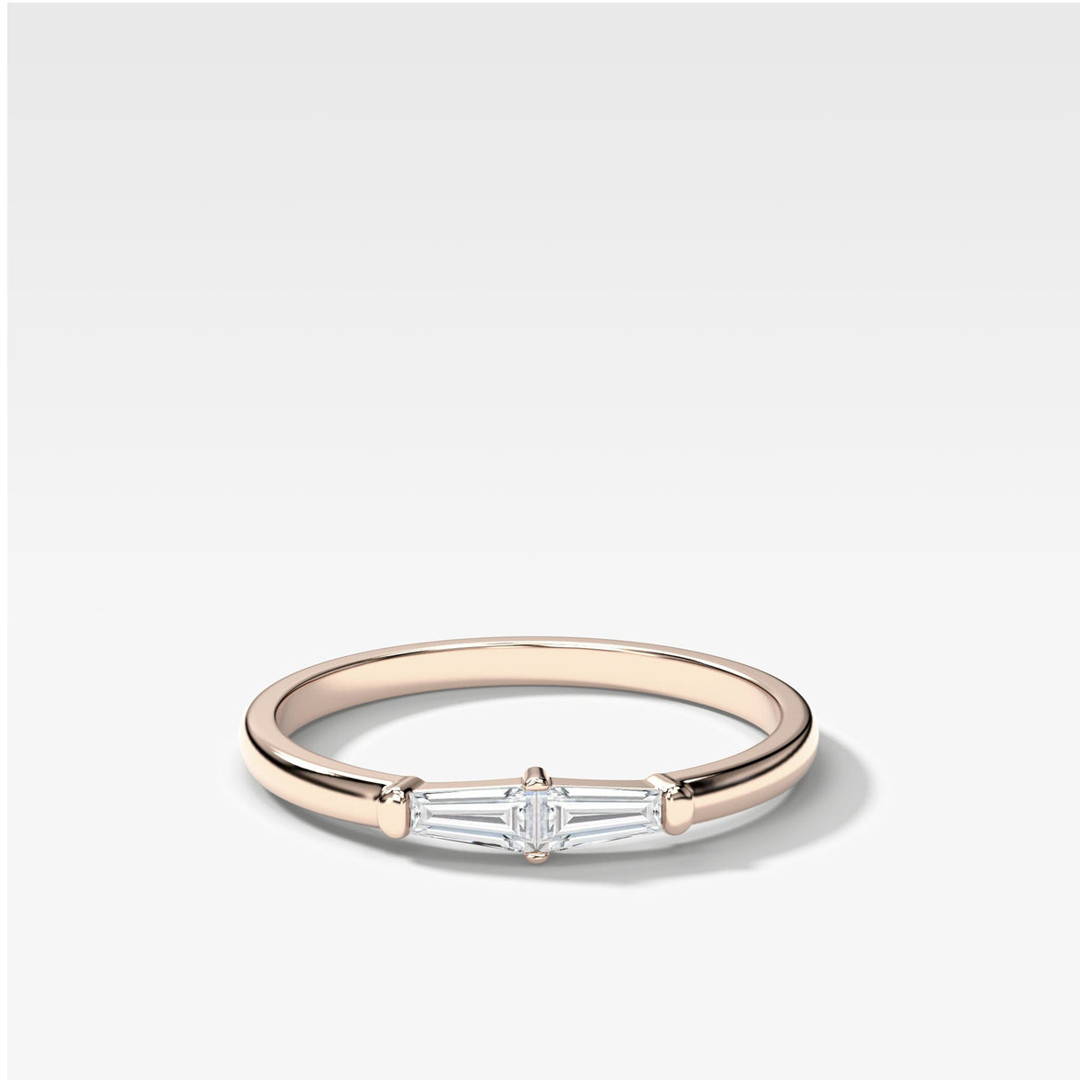 Petite Tapered Baguette Stacker In Rose Gold By Good Stone