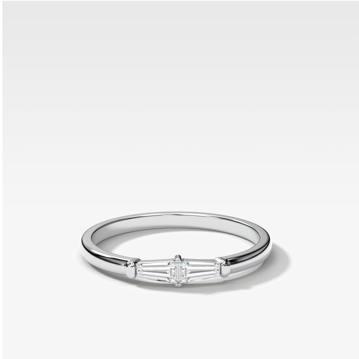 Petite Tapered Baguette Stacker In White Gold By Good Stone