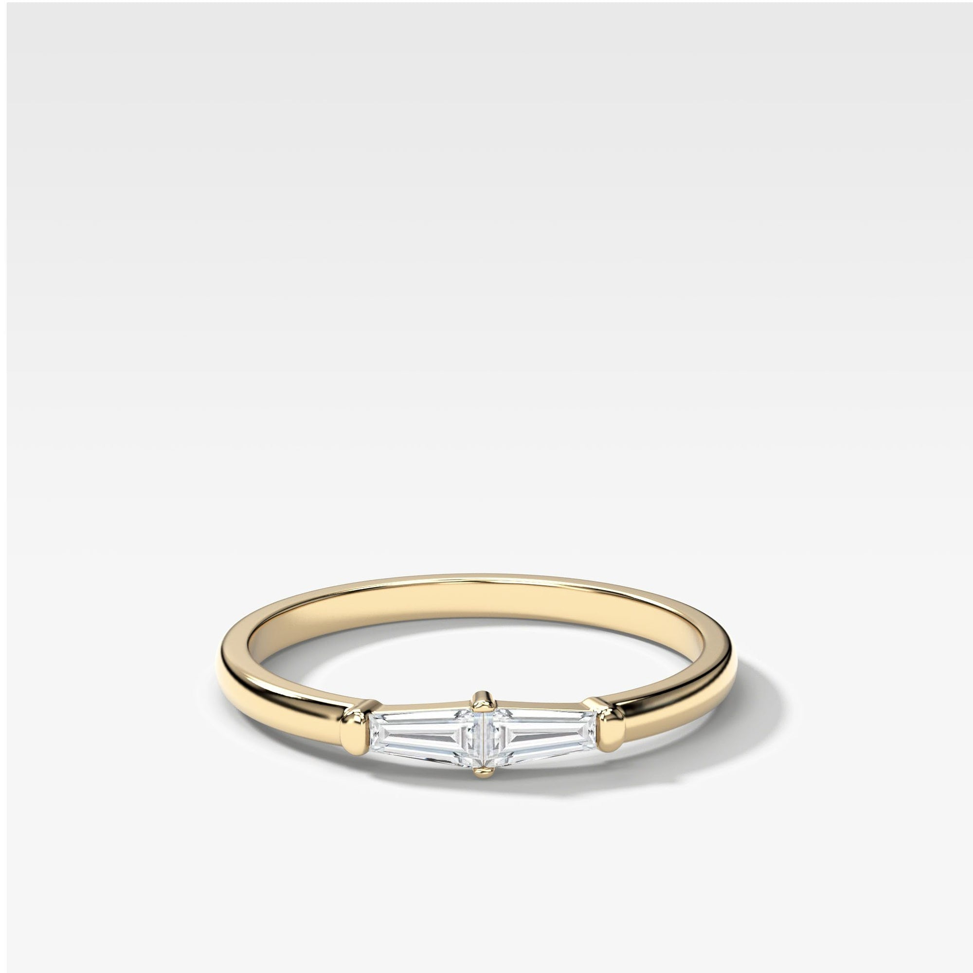 Petite Tapered Baguette Stacker In Yellow Gold By Good Stone