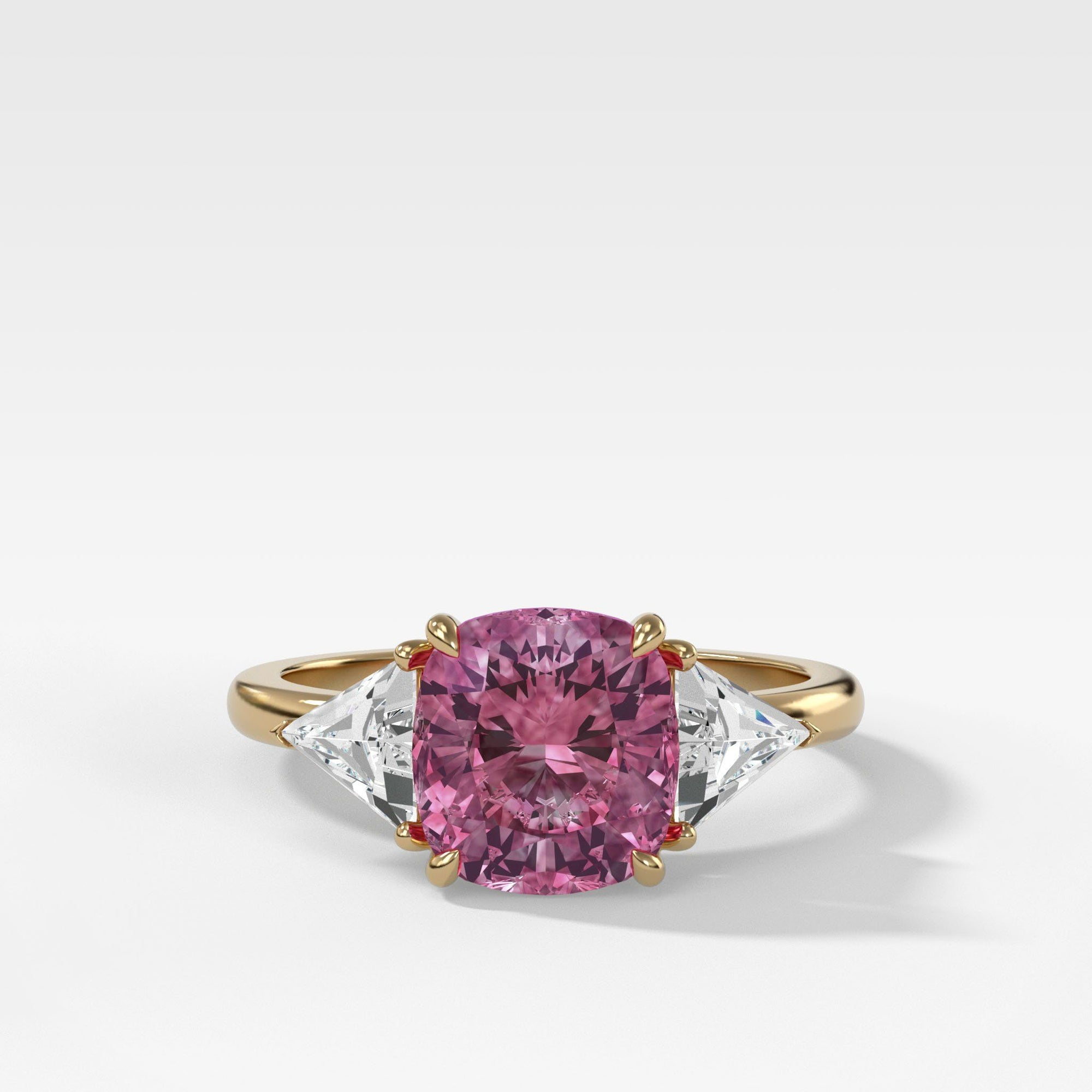 Vintage 2.35ct Pink Sapphire Three Stone Ring with Trillion Diamond Sides in Yellow Gold by Good Stone