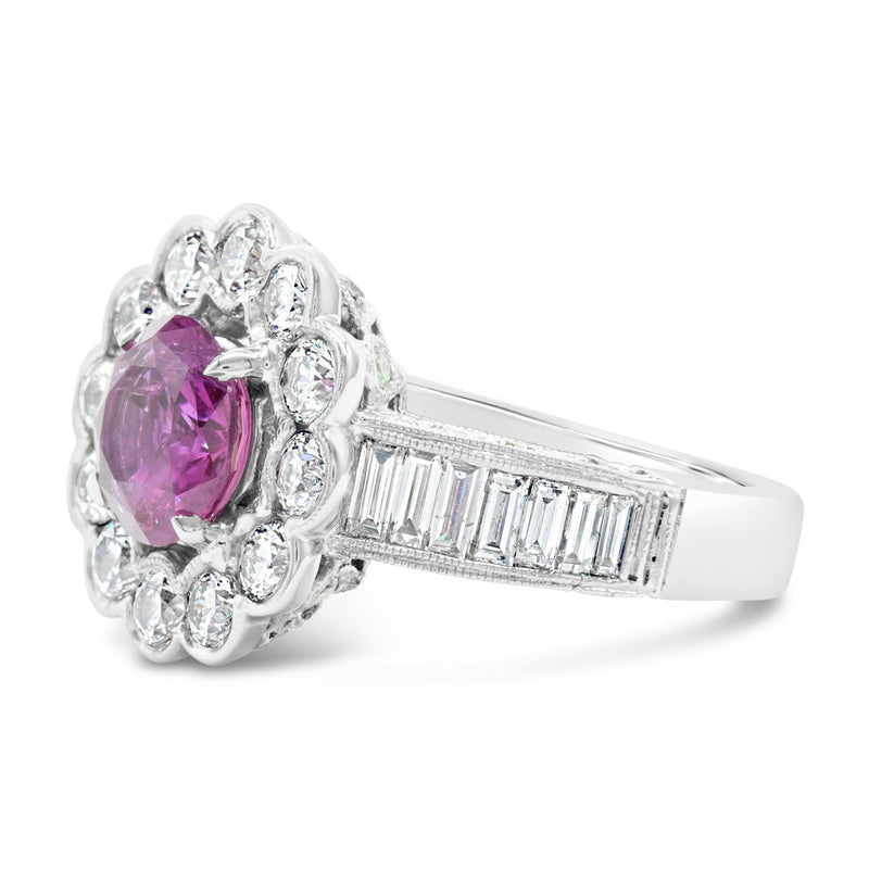 Antique Floral Halo with a 2.68ct Pink Sapphire and Art Deco Style Baguette diamonds