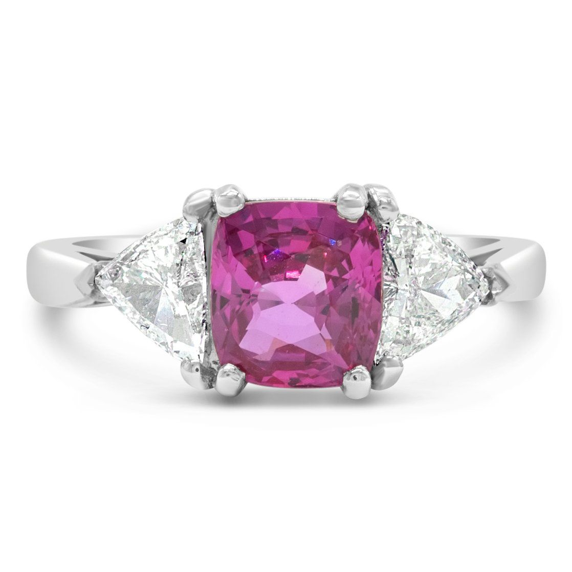 Vintage 2.35ct Pink Sapphire Three Stone Ring with Trillion Diamond Sides Rings Good Stone Inc