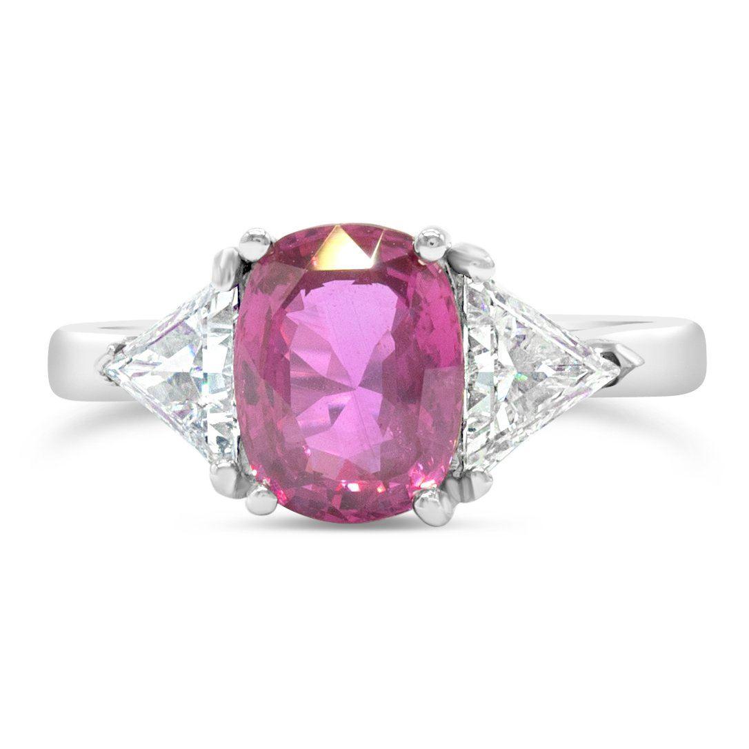 Vintage 2.72ct Pink Sapphire Three Stone Ring with Trillion Diamond Sides Rings Good Stone Inc