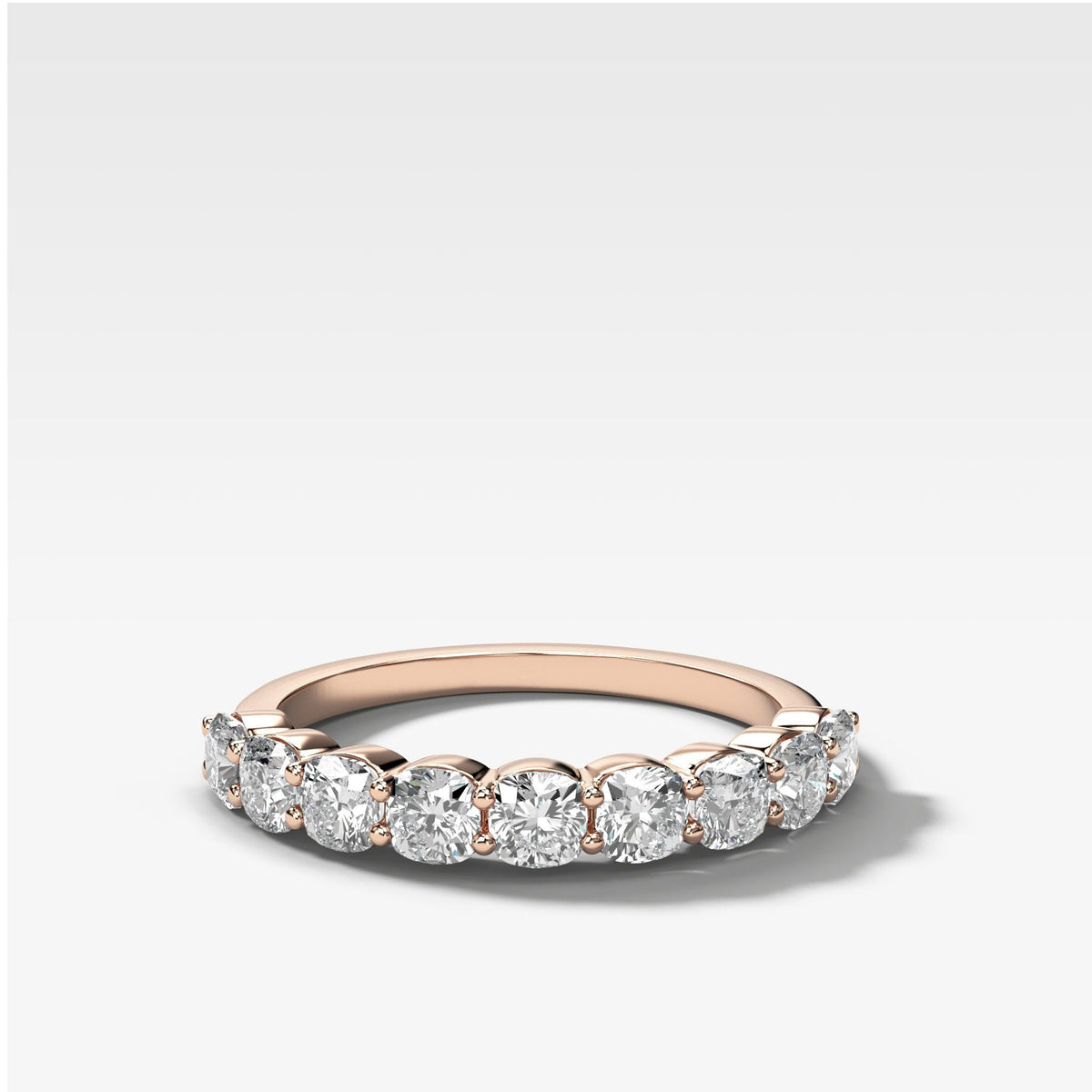 Cushion Cut Shared Prong Stacker in Rose Gold by Good Stone