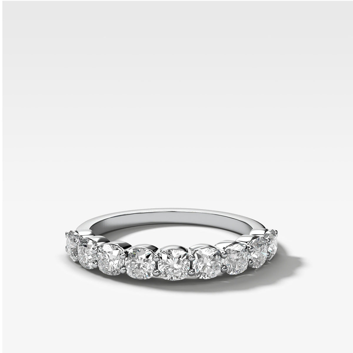 Cushion Cut Shared Prong Stacker in White Gold by Good Stone