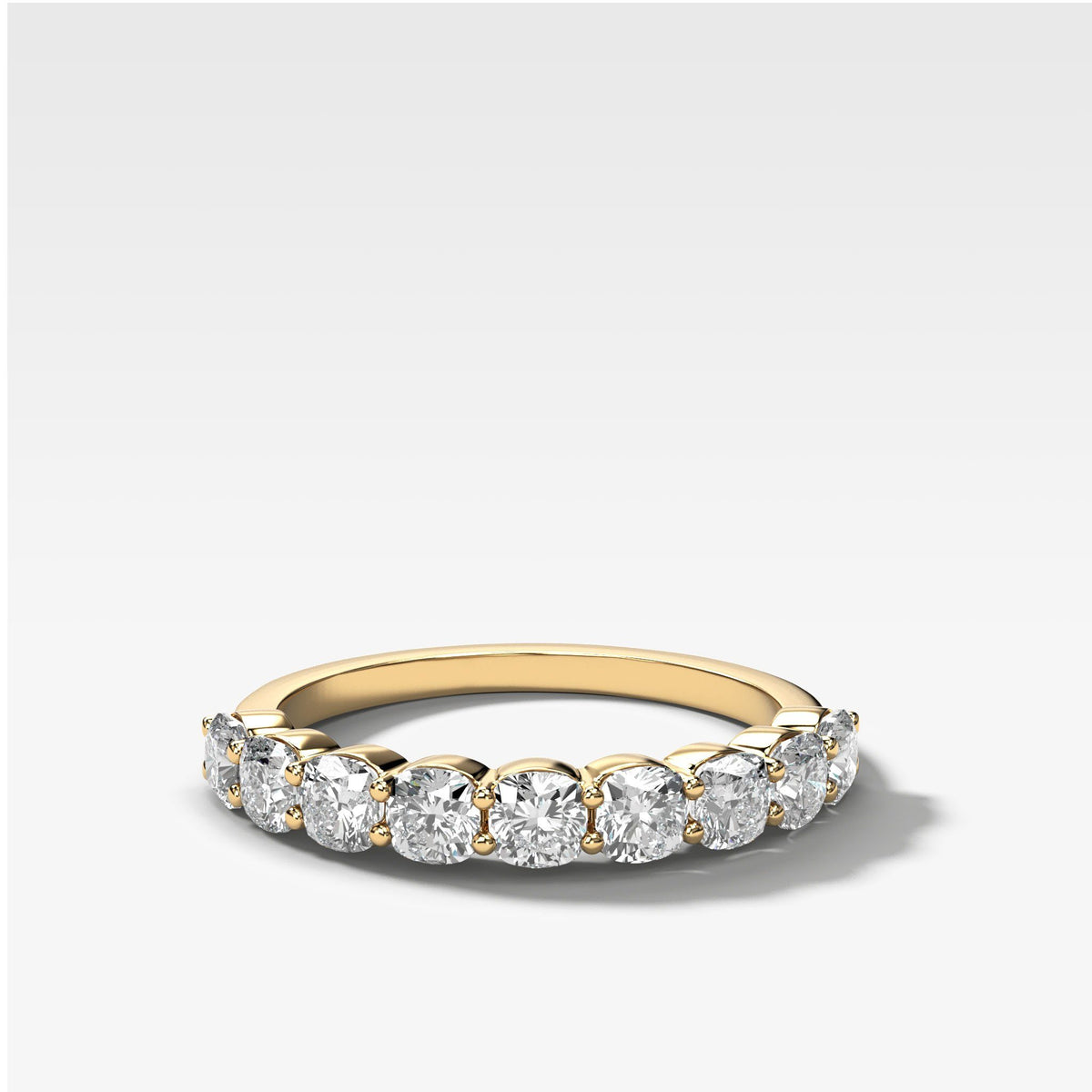 Cushion Cut Shared Prong Stacker in Yellow Gold by Good Stone