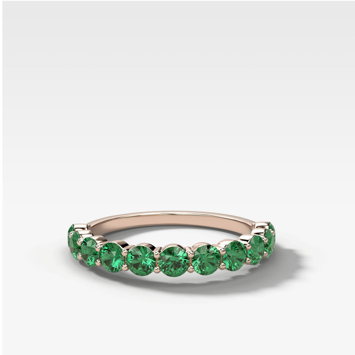 Shared Prong Stacker With Green Emeralds in Rose Gold by Good Stone