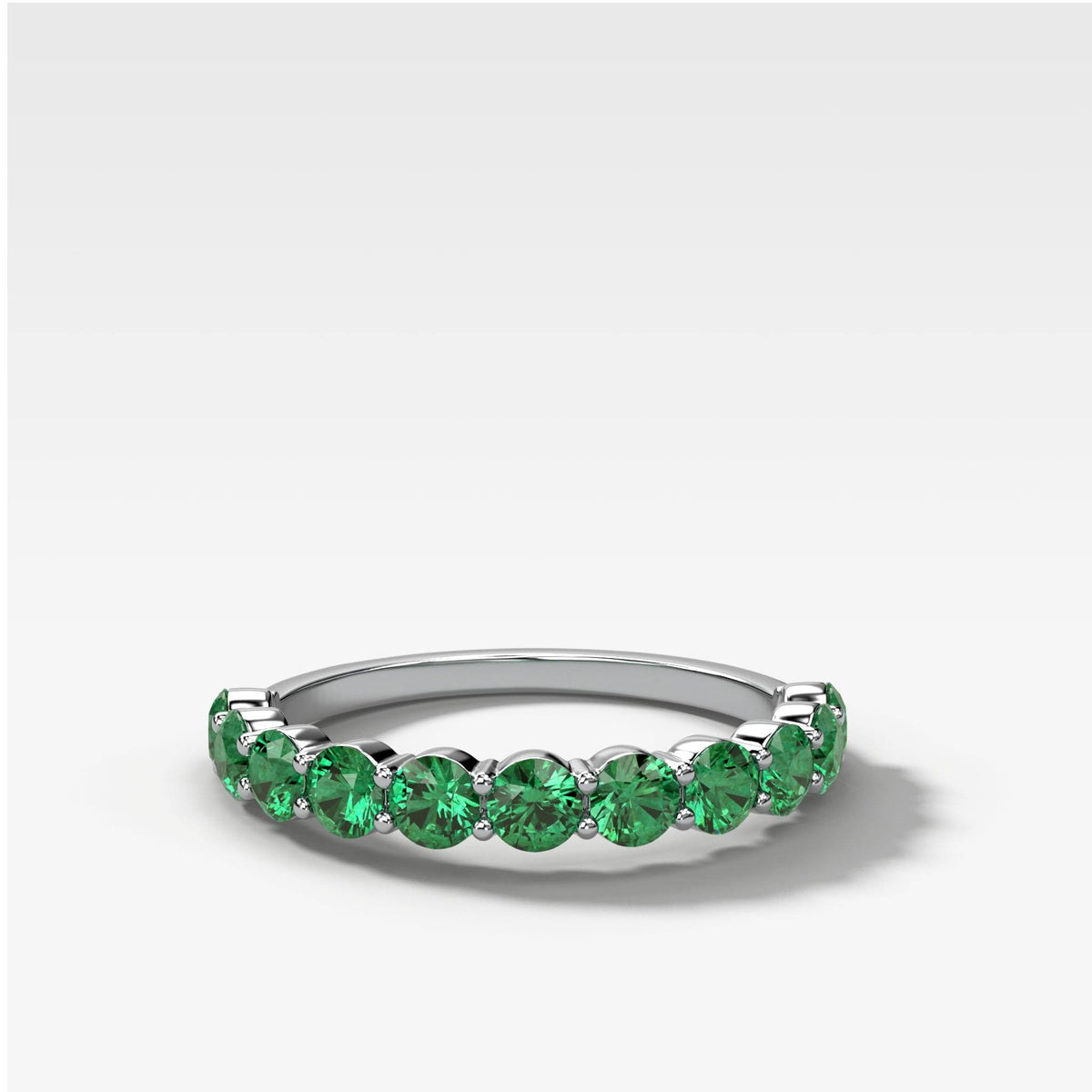 Shared Prong Stacker With Green Emeralds in White Gold by Good Stone