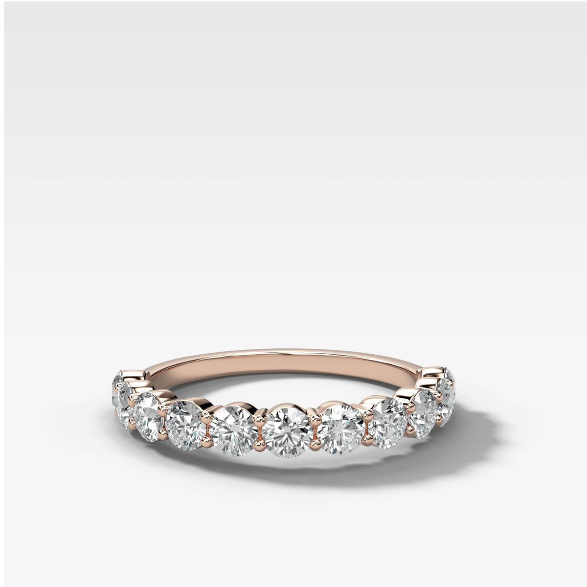 Shared Prong Stacker in Rose Gold by Good Stone