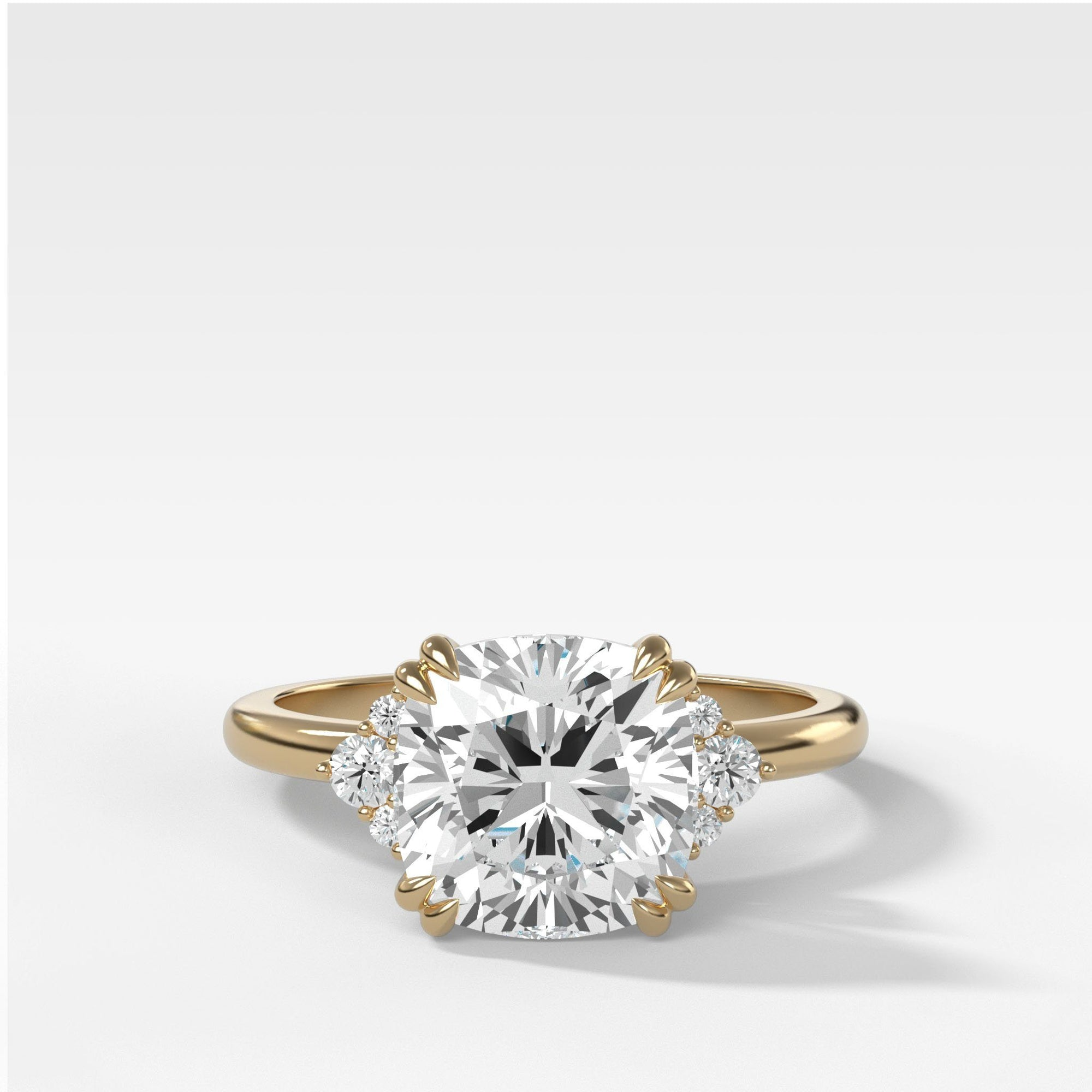 Signature Cluster Engagement Ring With Cushion Cut In Yellow Gold By Good Stone