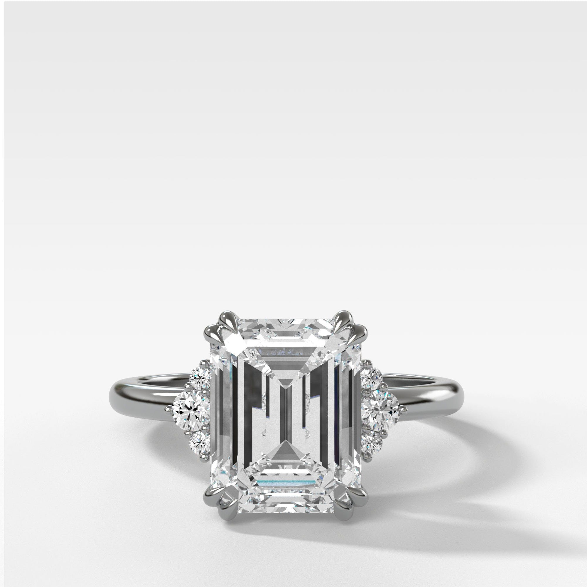 Signature Cluster Engagement Ring With Emerald Cut In Yellow Gold By Good Stone
