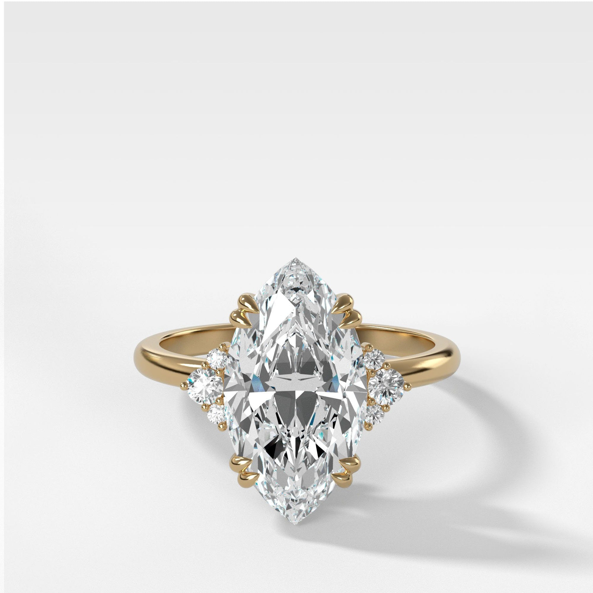 Signature Cluster Engagement Ring With Marquise Cut In Yellow Gold By Good Stone