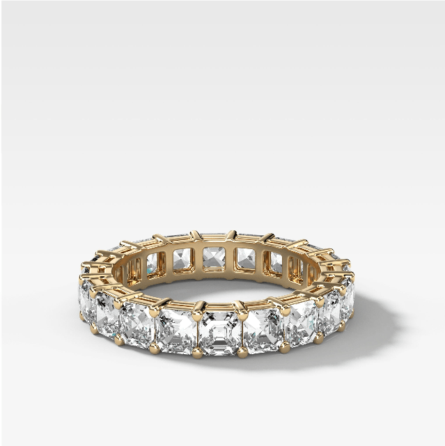 Asscher Cut Constellation Eternity Band in Yellow Gold By Good Stone Inc