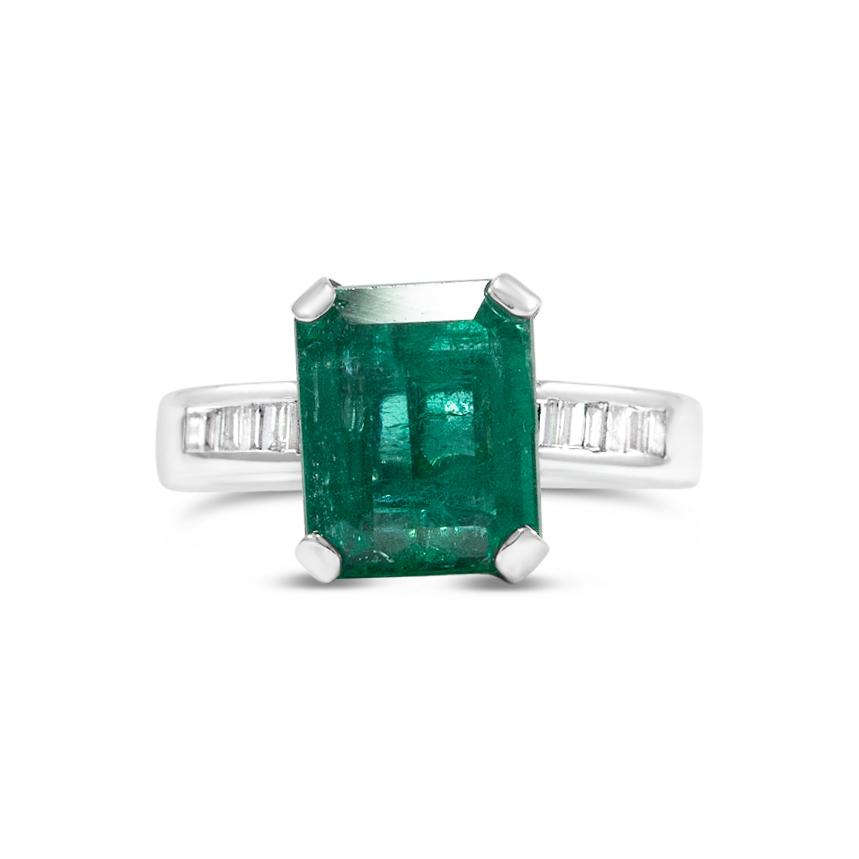 Vintage 4.58ct Emerald Engagement ring available in White Gold from Good Stone