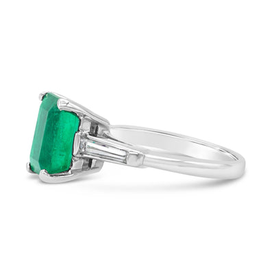 Emerald cut Emerald Translunar Ring with Tapered Baguette Diamond sides