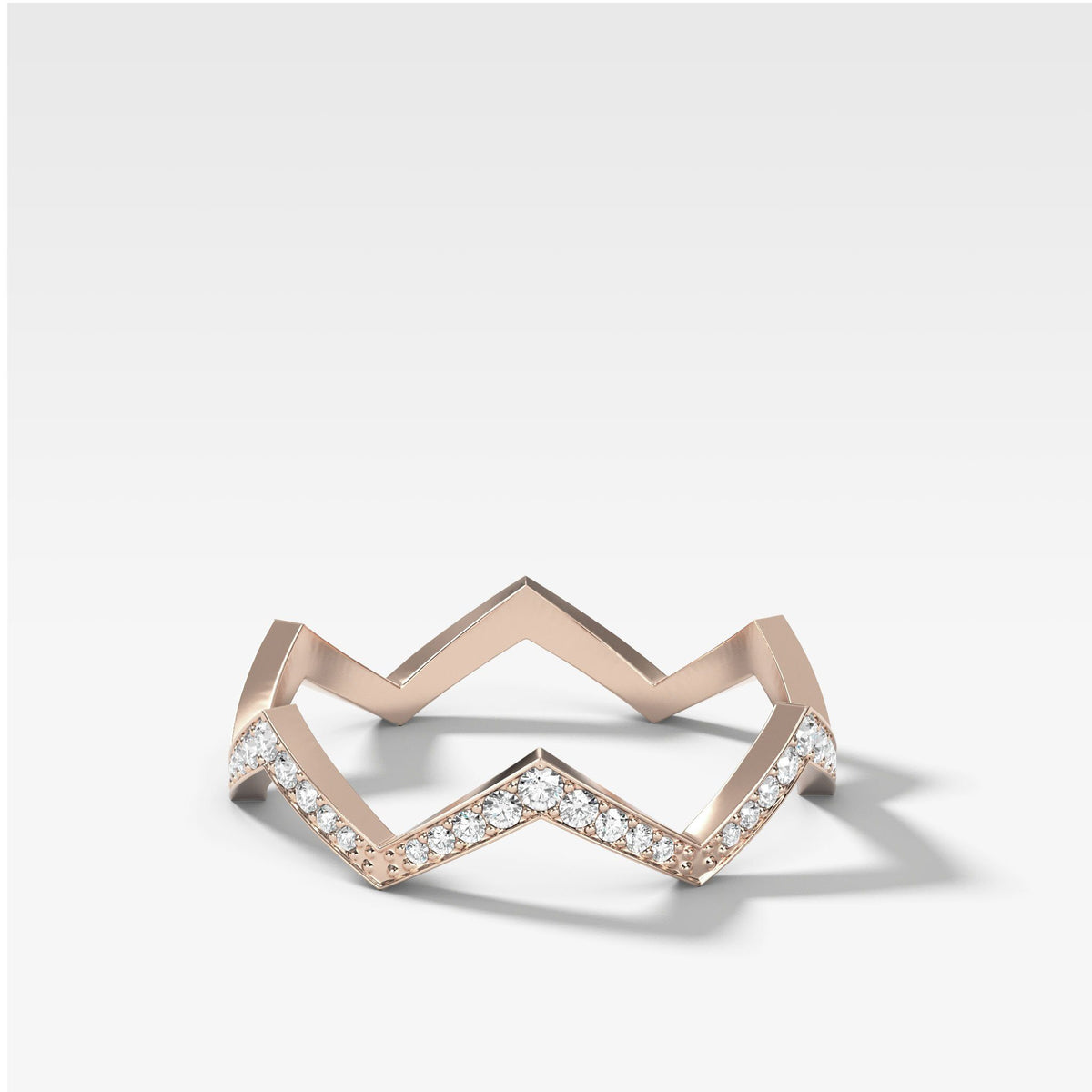 Zig Zag Pavé Band In Rose Gold By Good Stone