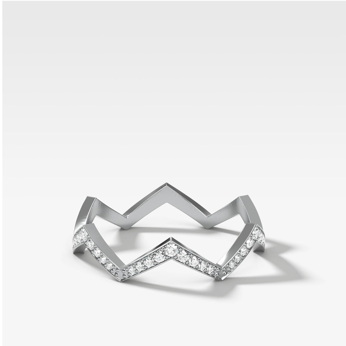 Zig Zag Pavé Band In White Gold By Good Stone