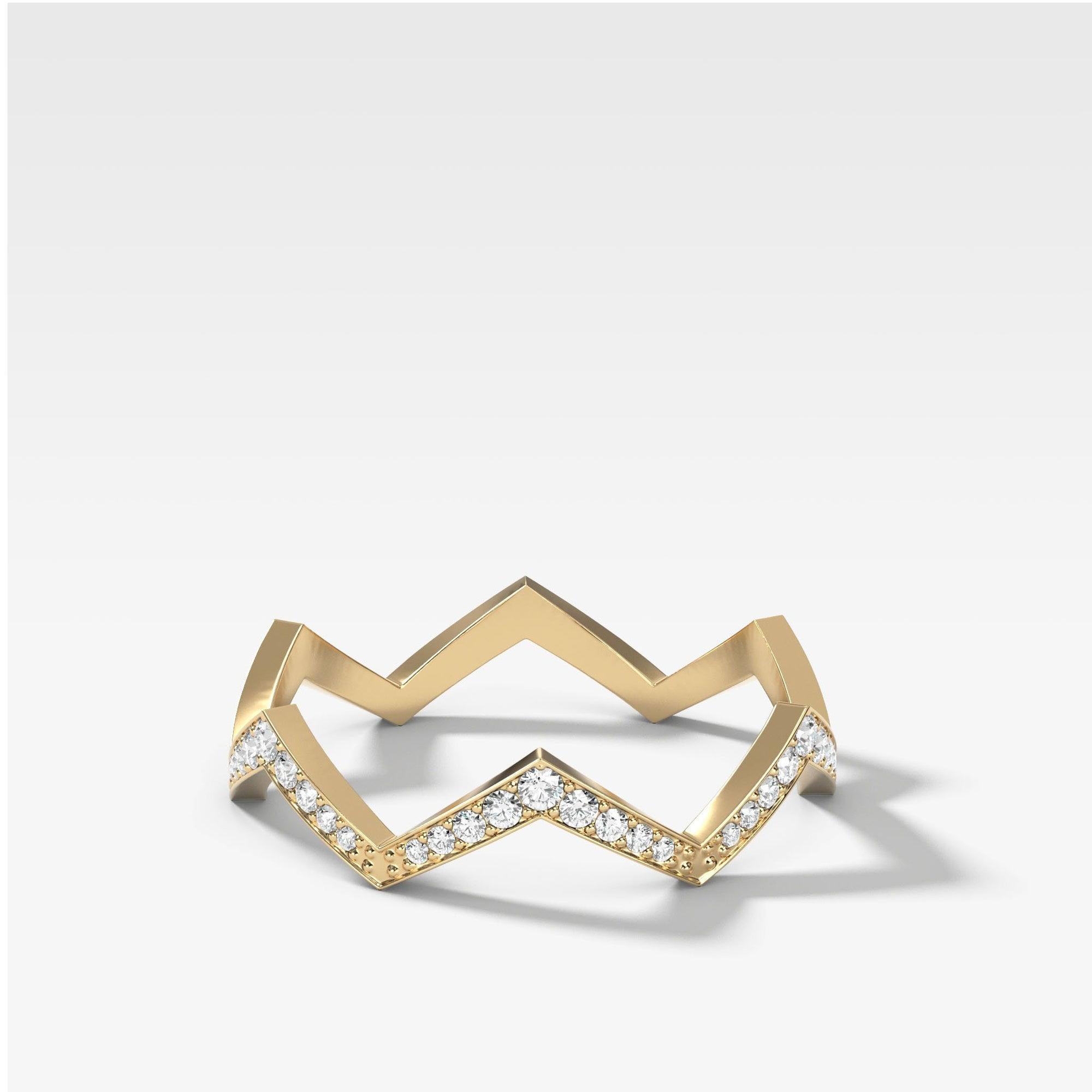 Zig Zag Pavé Band In Yellow Gold By Good Stone