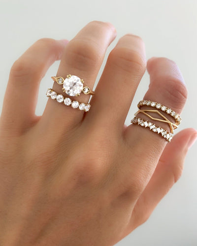 Claw Diamond Band: Mini Stackable Eternity Band