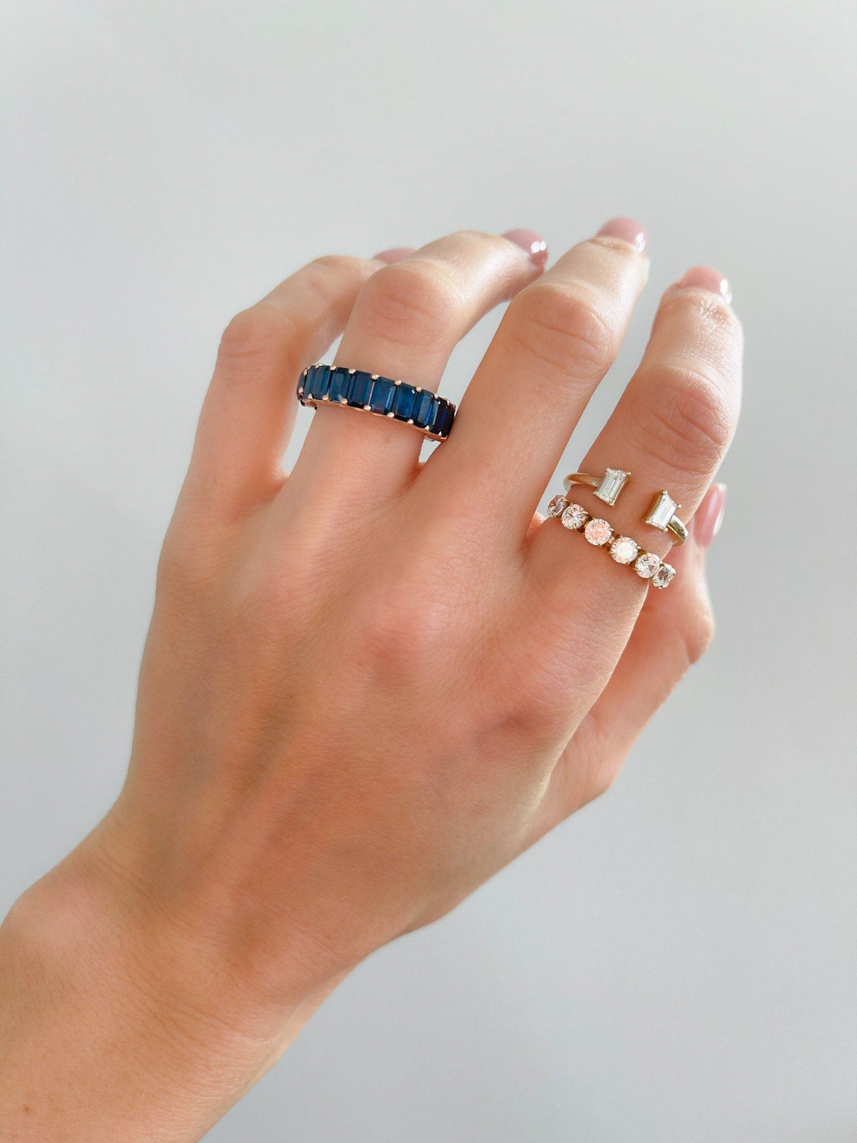 Reversible Sapphire Eternity Band available in Gold and Platinum By Good Stone