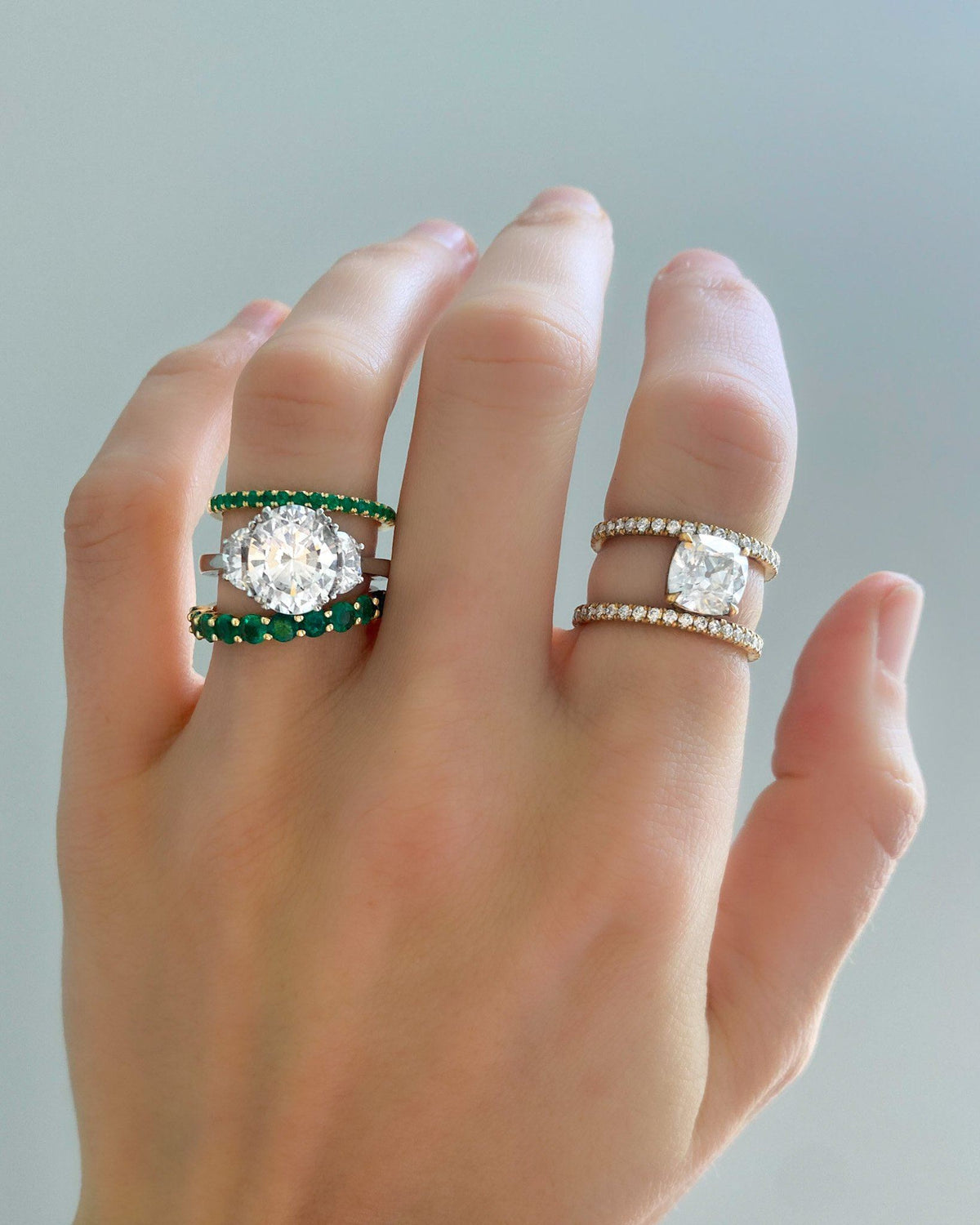 Shared Prong Stacker With Green Emeralds available in Gold and Platinum by Good Stone