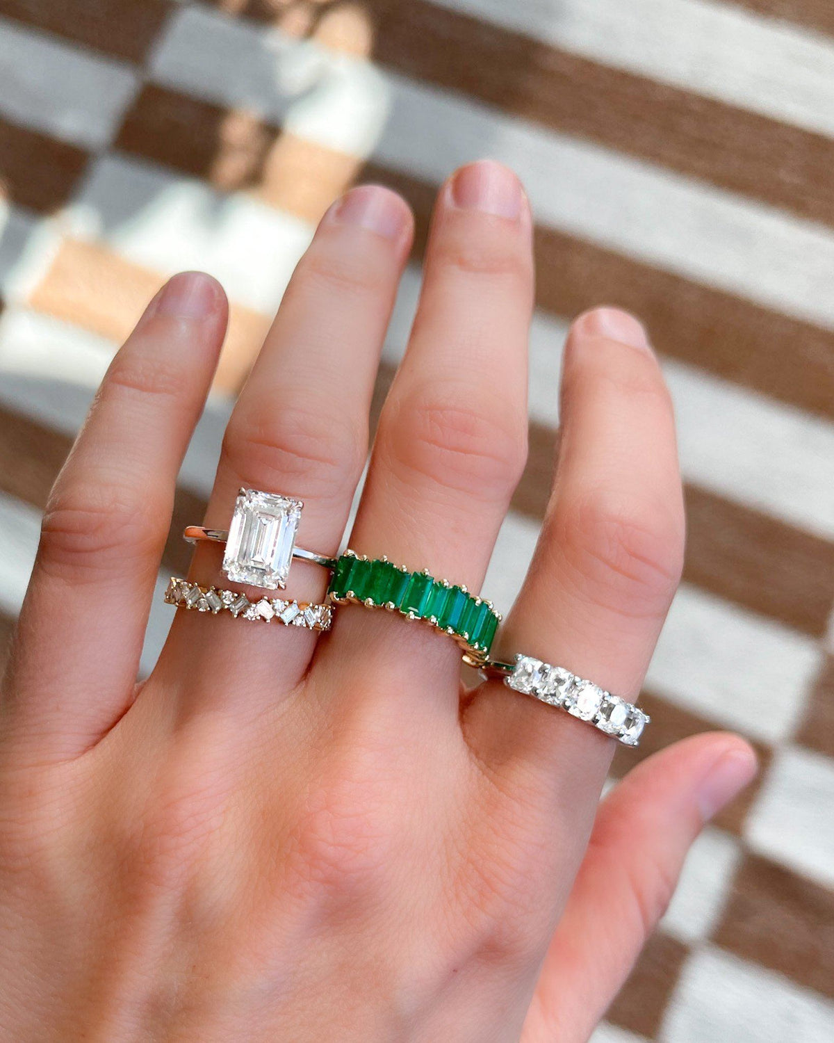Green Emerald Baguette Stackable Ring available in Gold and Platinum By Good Stone