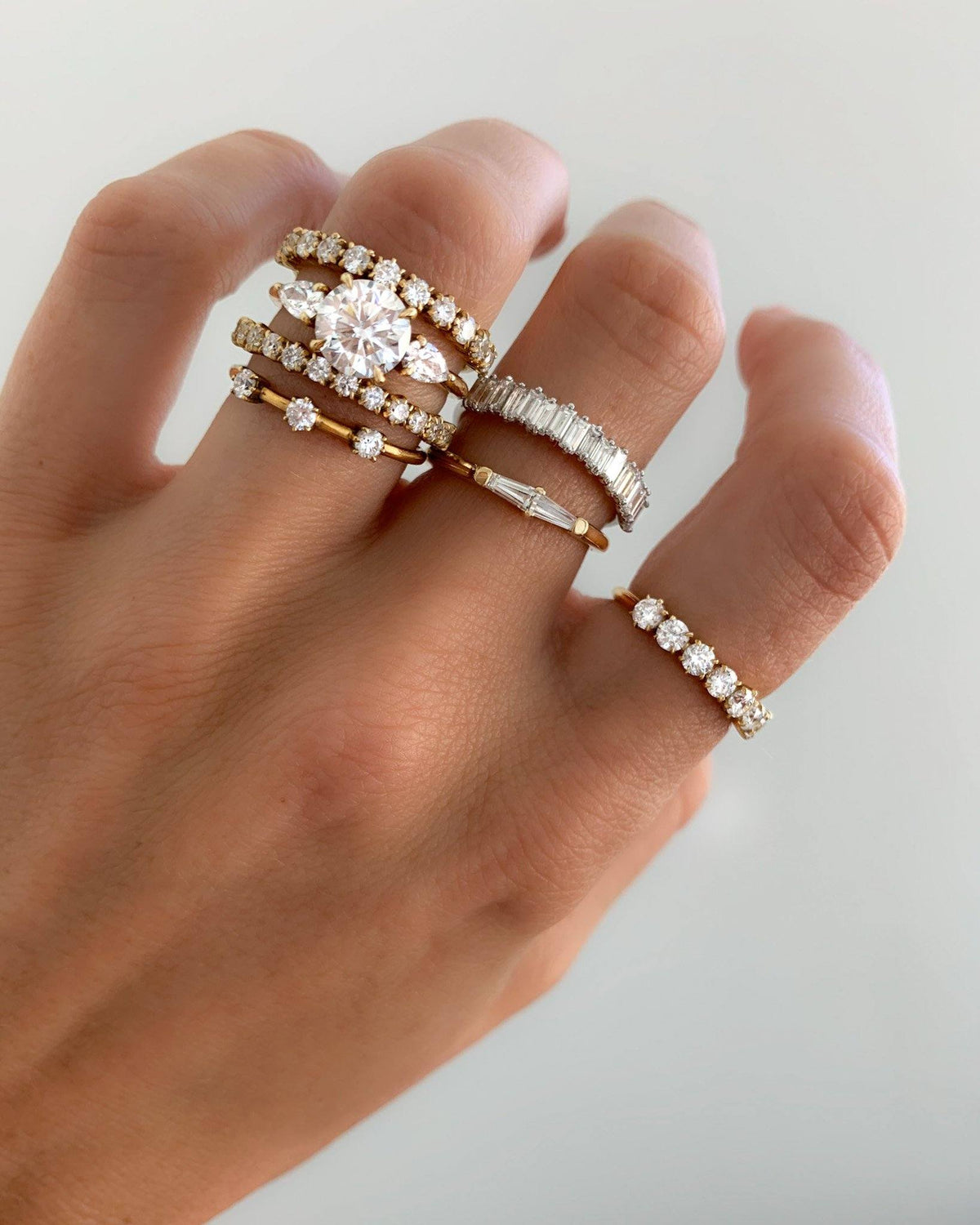 Midi Baguette Diamond Stacker available in Gold and Platinum By Good Stone