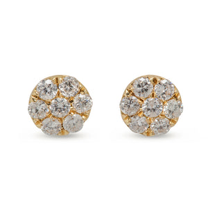 18KT YELLOW GOLD, .58CT DIAMOND CLUSTER EARRINGS