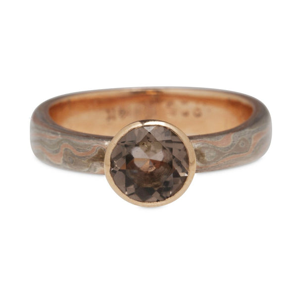 MOKUME-GANE 14K ROSE GOLD & STERLING, 6MM SMOKEY QUARTZ RING