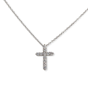 PLATINUM & DIAMOND CROSS PENDANT & NECKLACE