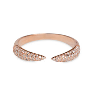 18KT YELLOW OR ROSE GOLD PAVE DIAMOND CLAW RINGS