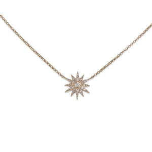 14KT YELLOW GOLD & DIAMOND STARBURST NECKLACE