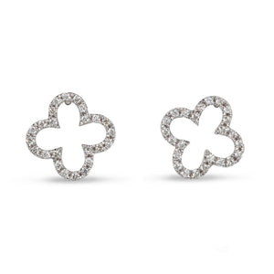 14KT WHITE GOLD QUATREFOIL DIAMOND STUD EARRINGS