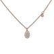 18KT ROSE GOLD NECKLACE WITH PAVE OVAL DISK AND SIDEKICK DIAMOND