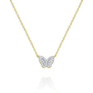 14KT YELLOW GOLD & DIAMOND MINI BUTTERFLY NECKLACE