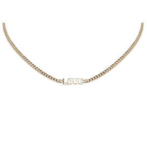 14KT YELLOW GOLD LOVE IN BLOCK LETTERS NECKLACE