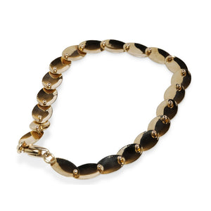 14KT YELLOW GOLD OVAL DISK BRACELET