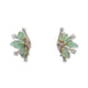 RETRO VINTAGE 14KT/18KT CARVED EMERALD AND DIAMOND EARRINGS