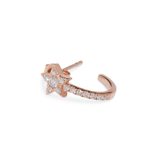 14KT ROSE GOLD AND DIAMOND HUGGIE HOOPS