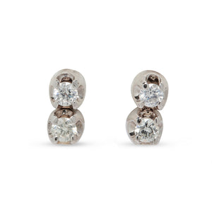 VINTAGE DOUBLE DIAMOND STUD EARRINGS