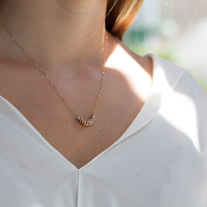 YELLOW, WHITE & ROSE GOLD RONDELLE NECKLACE