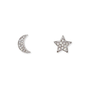 14KT STAR AND MOON EARRINGS